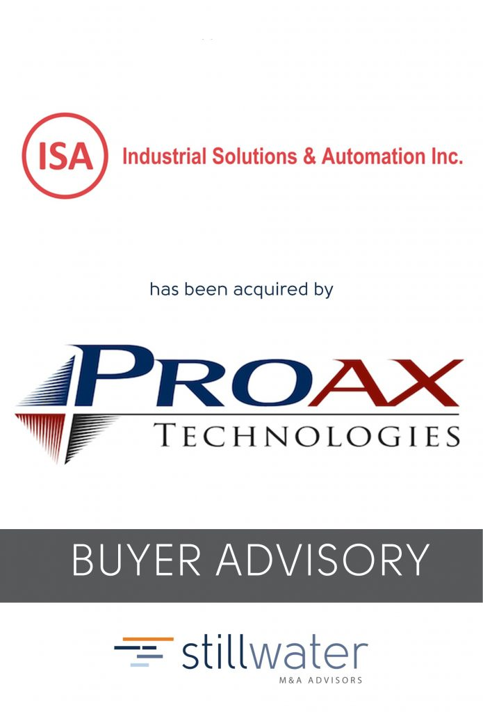 Industrial Solutions & Automation has been acquired by Proax