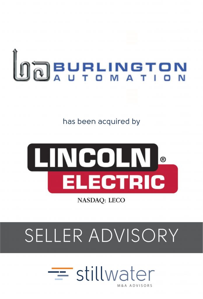 Burlington Automation has been acquired by Lincoln Electric